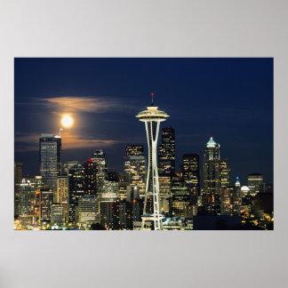 Washington Seattle, horisont på natten från Kerry Poster