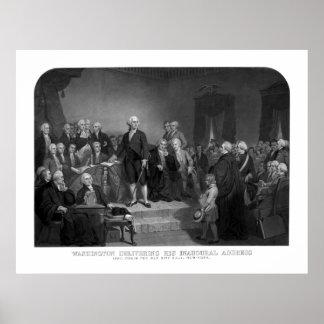 Washington som levererar hans öppnings- adress poster