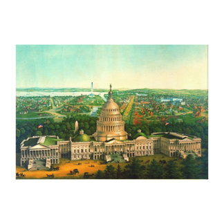 Washington stad 1869 canvastryck