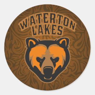 Waterton logotyp för ansikte för sjöarbjörn runt klistermärke