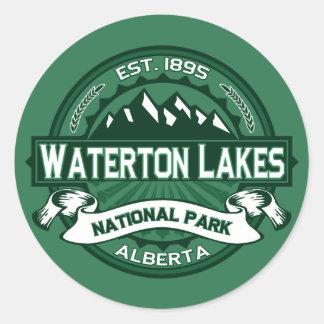 Waterton sjöarlogotyp runt klistermärke
