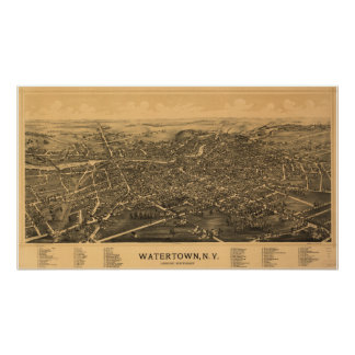 Watertown New York 1891 antika panorama- karta Poster