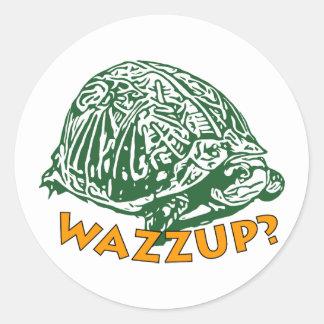 Wazzup - klassikerrundaklistermärke som är glansig runt klistermärke