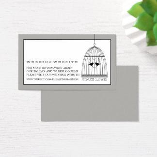 Website för bröllop för vintagehjärtafågelbur visitkort