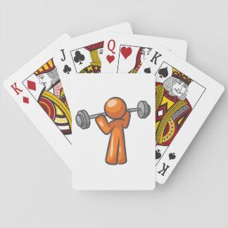 Weightlifting som leker kort spel kort