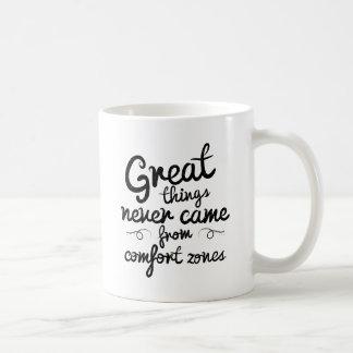 Wellcoda som bra saker kom aldrig från komfort, kaffemugg