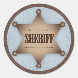 Western baby shower för Cowboysheriffemblem Runt Klistermärke