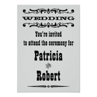Western bröllopinbjudan 12,7 x 17,8 cm inbjudningskort