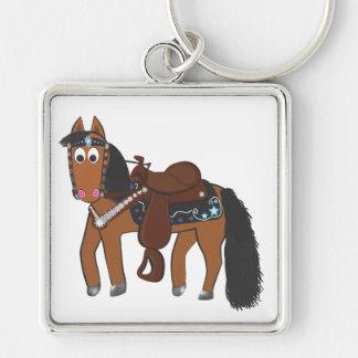 Western häst för gullig tecknad fyrkantig silverfärgad nyckelring