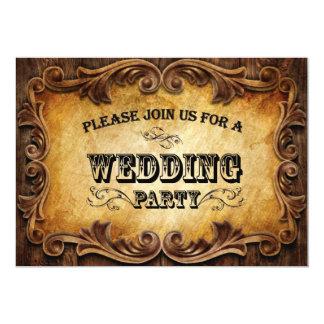 western landsbyggsbröllop för lantlig typografi 12,7 x 17,8 cm inbjudningskort