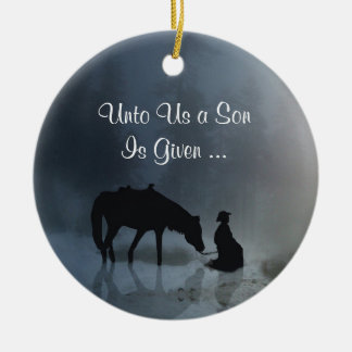 Western prydnad för religiös Cowboykyrka Julgransprydnad Keramik