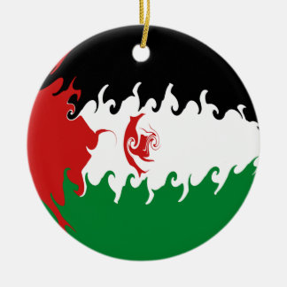 Western Sahara Gnarly flagga Rund Julgransprydnad I Keramik