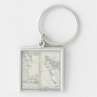 Westerna Australien och Tasmania Fyrkantig Silverfärgad Nyckelring