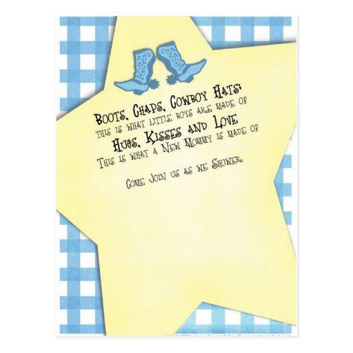 Westerna kängor för blått för baby shower vykort