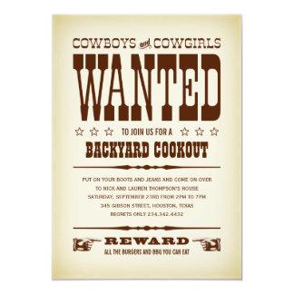 Westerna önskade affischpartyinbjudningar 12,7 x 17,8 cm inbjudningskort