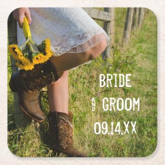 Westernt bröllop för Cowgirl och för solrosland Underlägg Papper Kvadrat
