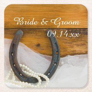 Westernt bröllop för hästsko och för pärlaland underlägg papper kvadrat