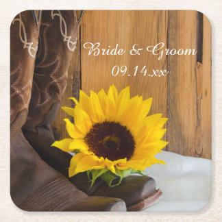Westernt bröllop för landsolros underlägg papper kvadrat