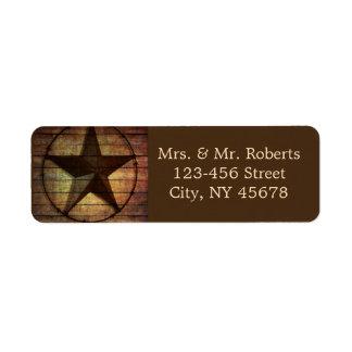 westernt bröllop för lantlig chic wood texas för returadress etikett