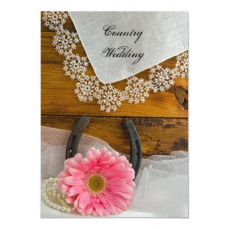 Westernt bröllop för rosa land för 12,7 x 17,8 cm inbjudningskort