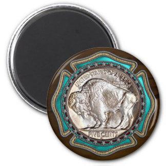 Westernt stilbuffelmynt magnet rund 5.7 cm