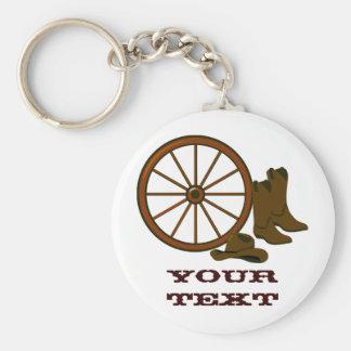 Westernt utrusta Keychain Rund Nyckelring