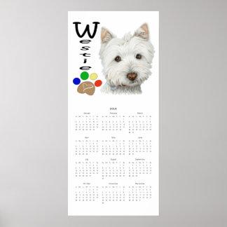 Westie 2014 och affisch för kalender för tasstryck