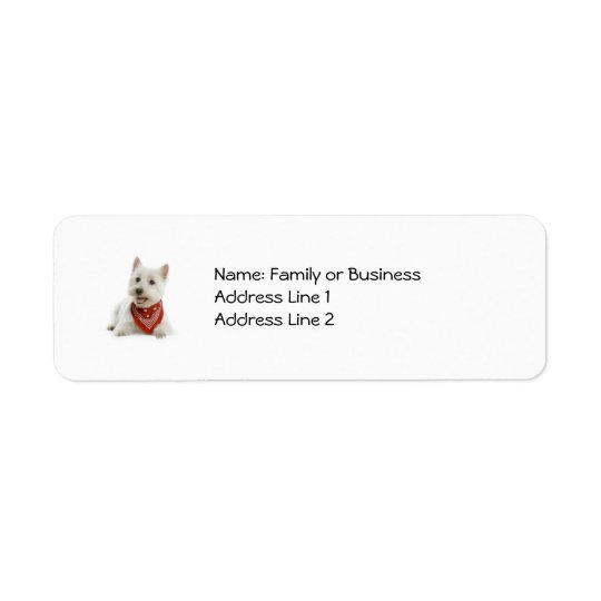 Westie etiketter returadress etikett