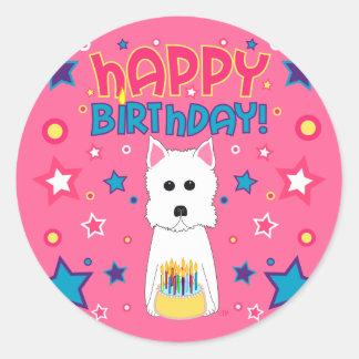 Westie födelsedag runt klistermärke