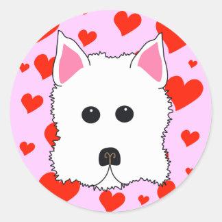 Westie hjärtaklistermärkear runt klistermärke
