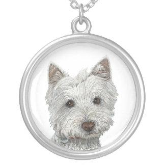Westie hund i bläckkonsthalsband silverpläterat halsband