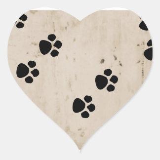 Westie hundtass avtryck hjärtformat klistermärke