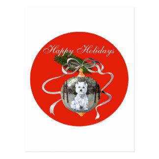 Westie i en helgdagprydnad vykort