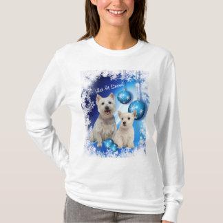 Westie låt det snöa Julhälsningar T-shirt