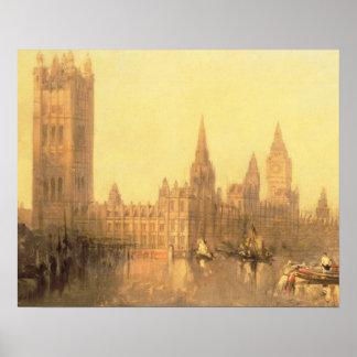 Westminster: Hus av parlamentet, c.1860 (olja på Poster
