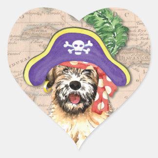 Wheaten pirat hjärtformat klistermärke