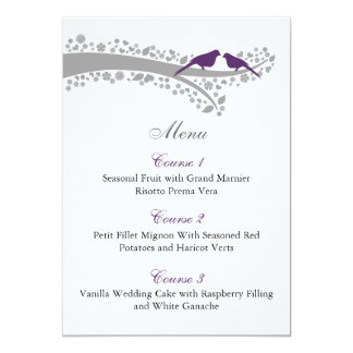 whimsy tree purple lovebirds menu cards custom invitations