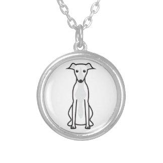 Whippet hundtecknad silverpläterat halsband