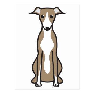 Whippet hundtecknad vykort