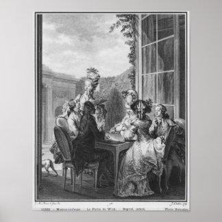Whistpartyet som inristas av Jean Dambrun 1783 Poster