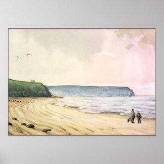 whitby hav och klippor England Poster