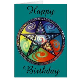 Wiccan Pentagramfödelsedag Hälsningskort
