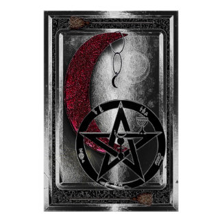 Wiccan silverCresent måne & Pentacle Poster
