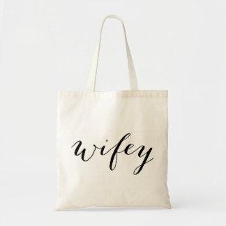 Wifey toto för brudbröllopsresa eller bröllop budget tygkasse