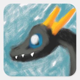 Wii U konst - svart drake med guld- Horns Fyrkantigt Klistermärke