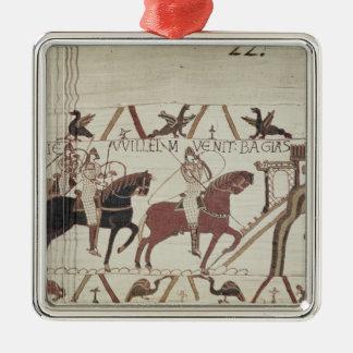 William besegraren ankommer på Bayeux Silverfärgad Fyrkantigt Julgransprydnad