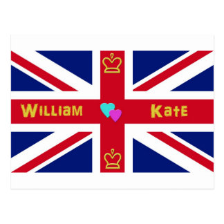 William & Kate brittisk flagga Vykort