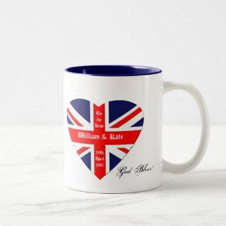 William & Kate-Union Jack/välsignelse+hjärta Två-Tonad Mugg