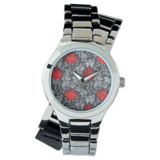 William Morris anemon, grått/grå färg och rött Armbandsur