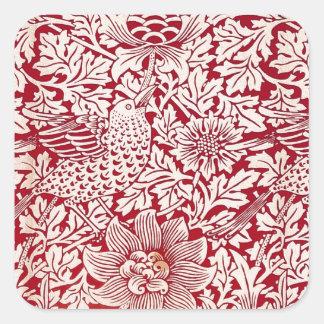 William Morris fågel och anemon Fyrkantigt Klistermärke